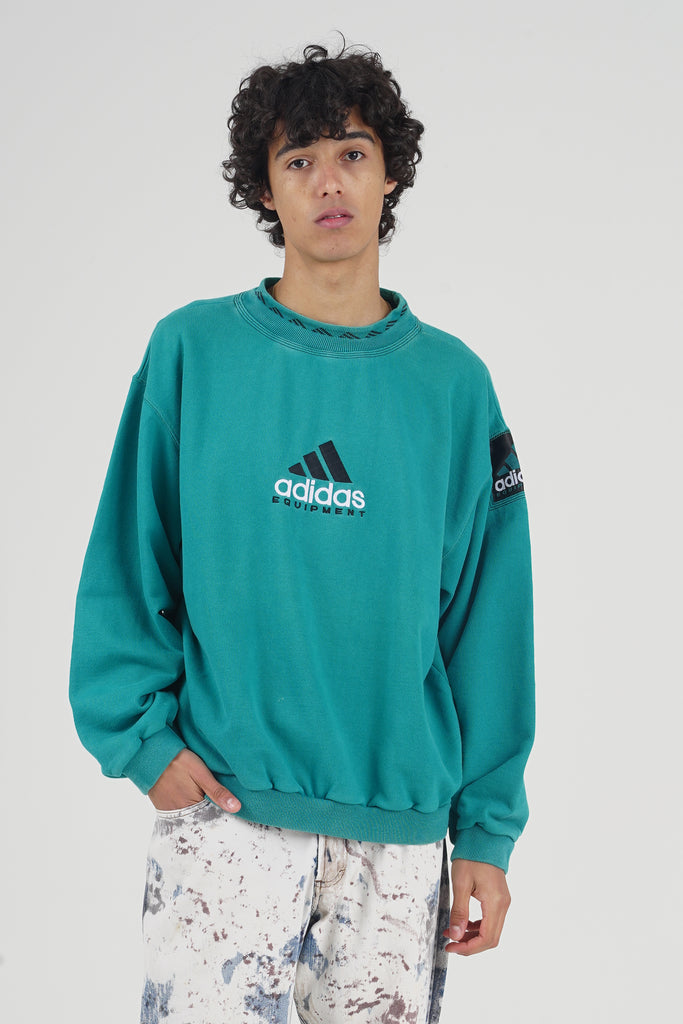 Vintage 90's Adidas Equipment Green Teal Logo Sweater