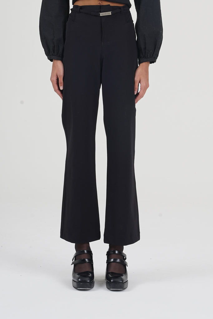 Vintage 90's Moschino Black Belted Trousers