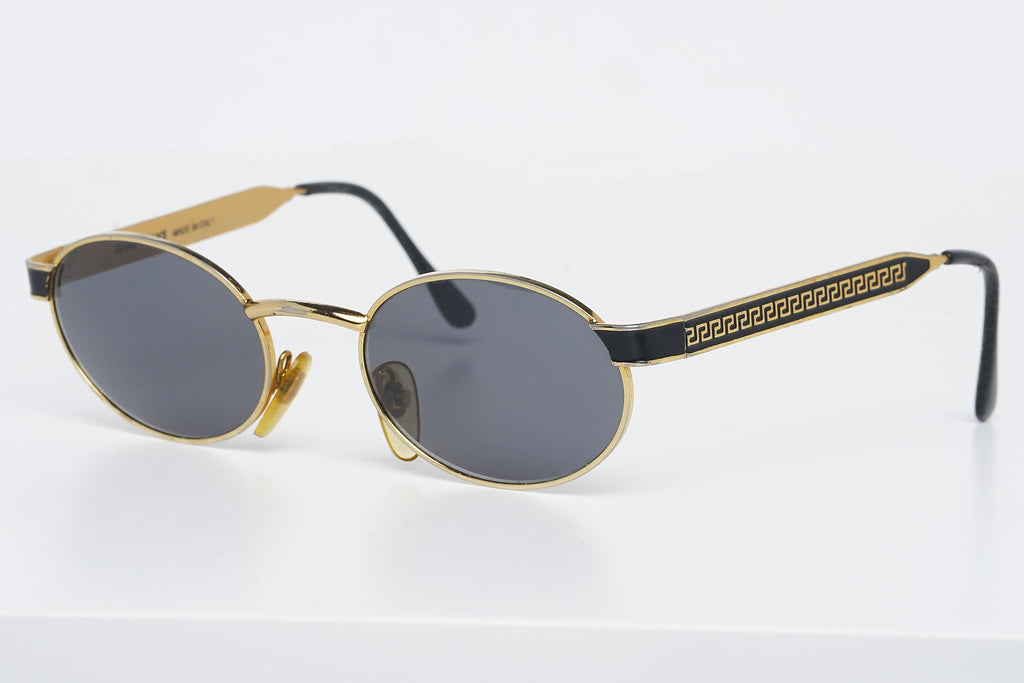 Rare Early 90's Gianni Versace Oval Black&Gold Logo Sunglasses