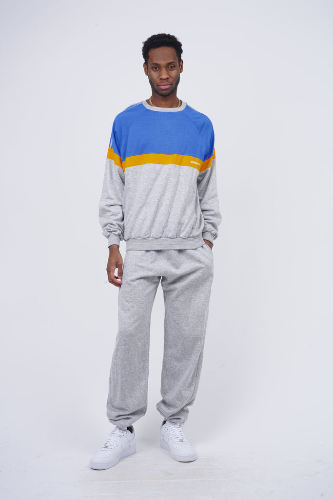 Vintage 80's Adidas Grey Tricolor Co-Ord Tracksuit