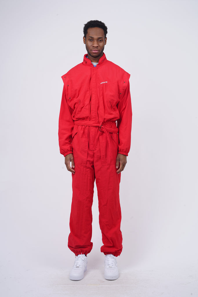 Vintage 90's Adidas Red Zip Up Belted Boiler Suit