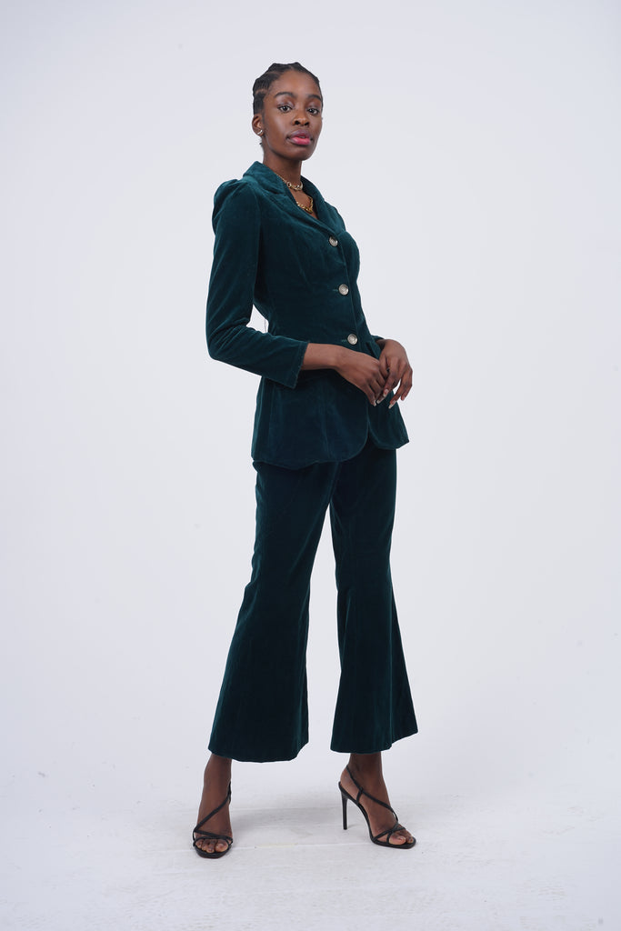 Vintage 70's Forest Green Velvet Suit