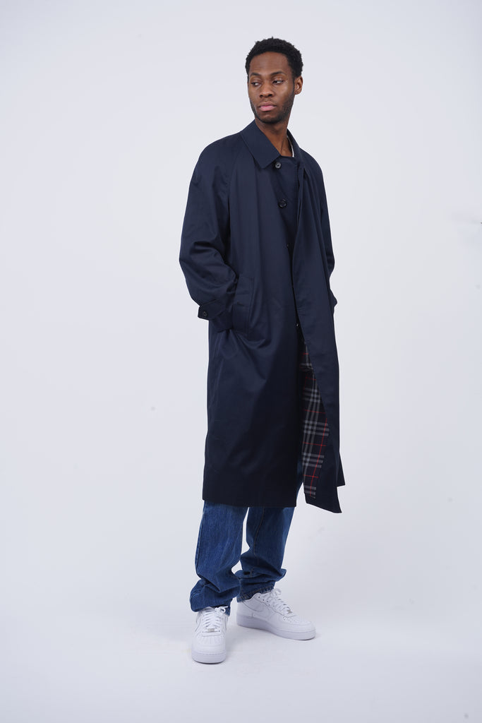 Vintage 90's Burberry Navy Classic Long Trench Coat