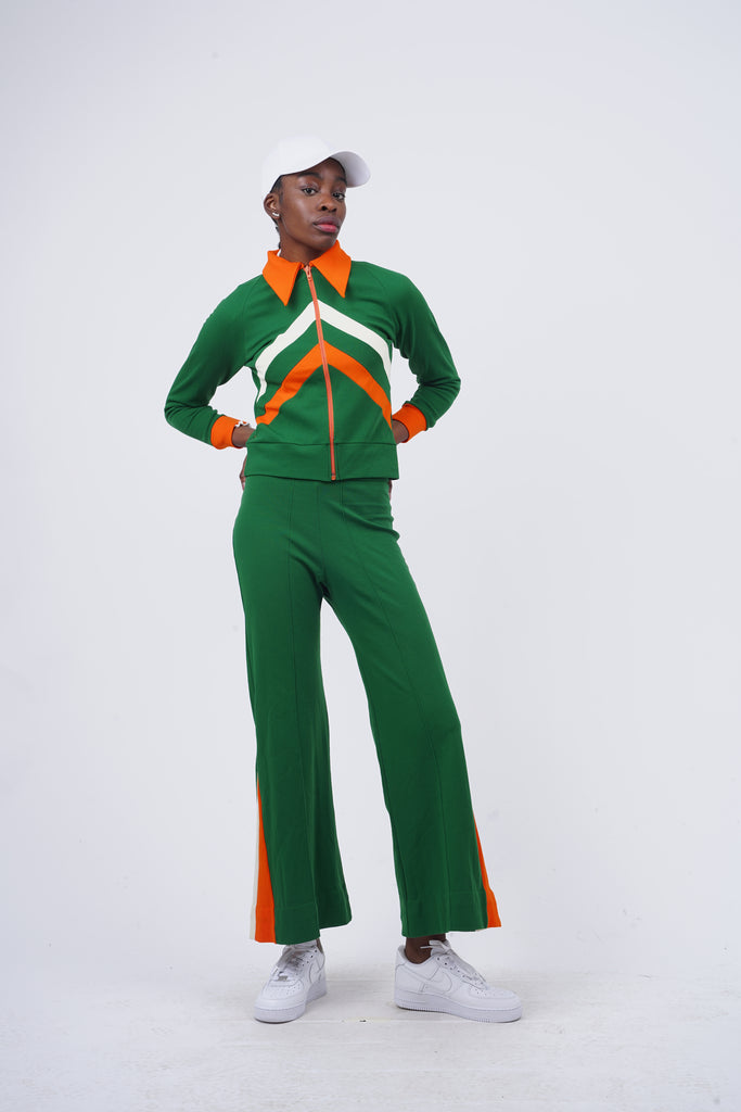 Vintage 70's Flared Green Co-Ord Tracksuit