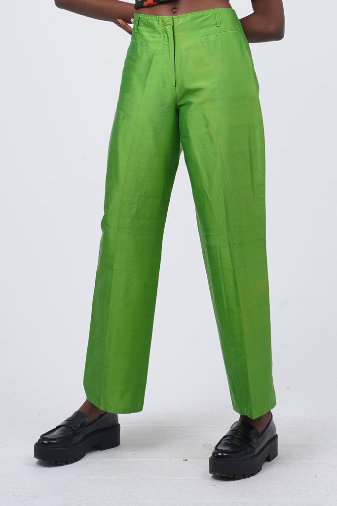 Vintage 90's Castelbajac Satin Apple Green High Waisted Trousers