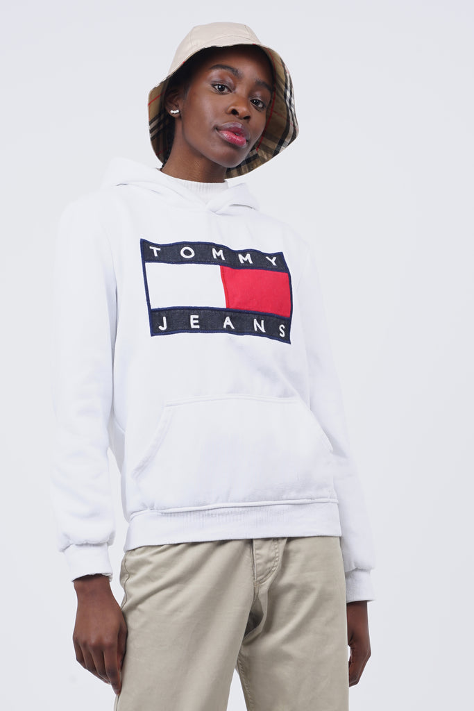 Vintage 90's Tommy Hilfiger White Front Logo Hoodie