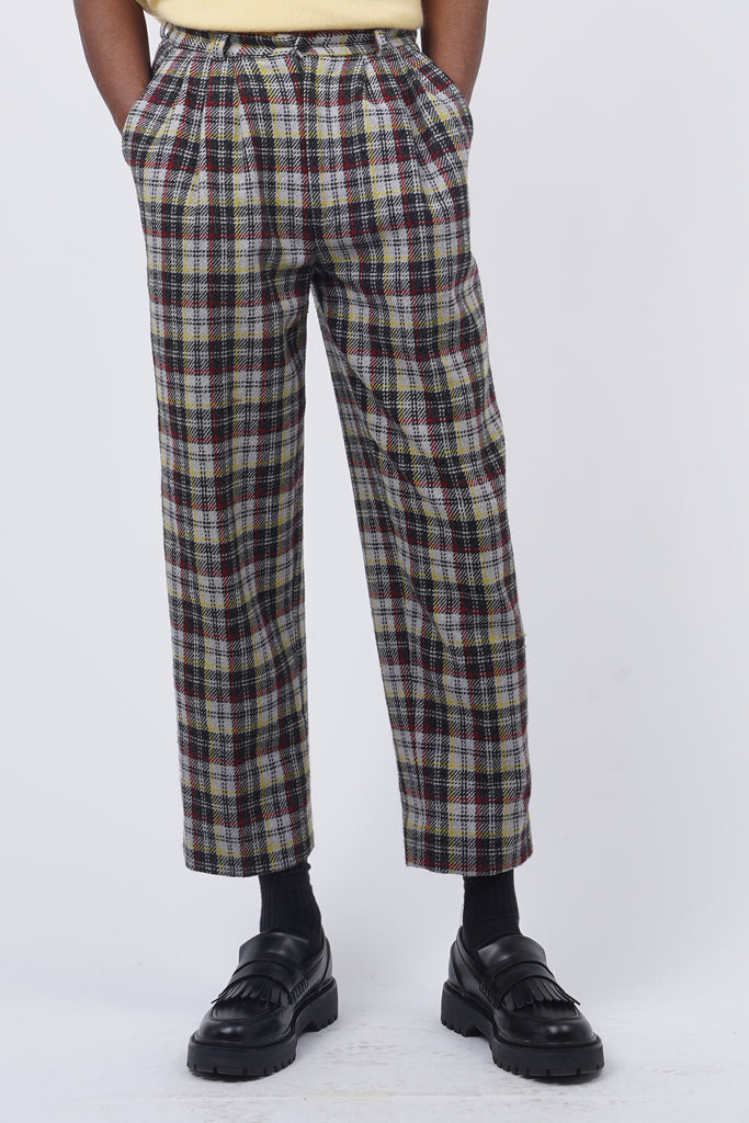 Vintage 80's Multicoloured Wool Check Cropped Trousers