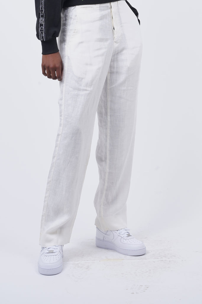 2002 Stone Island White Linen High Waisted Trousers