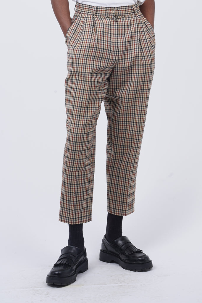 Vintage 80's Beige Checked Trousers