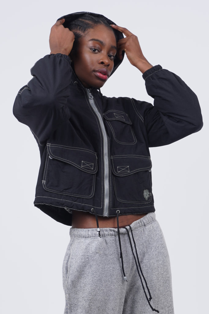 Vintage 90's Onyx Black Contrast Stitch crop padded Jacket