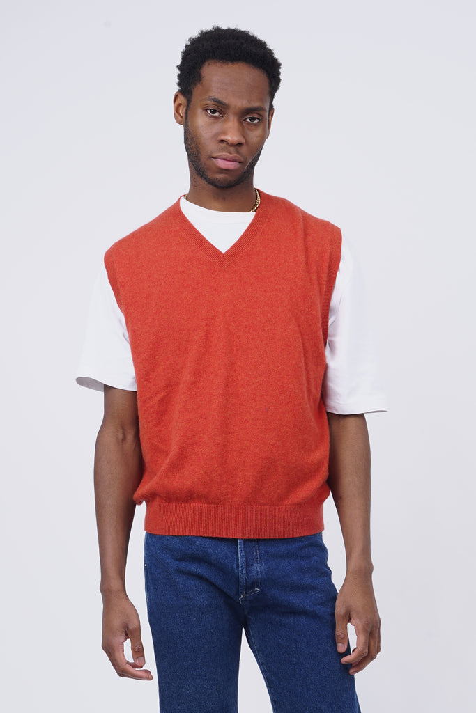 Vintage 90's Orange Cashmere V-Neck Vest