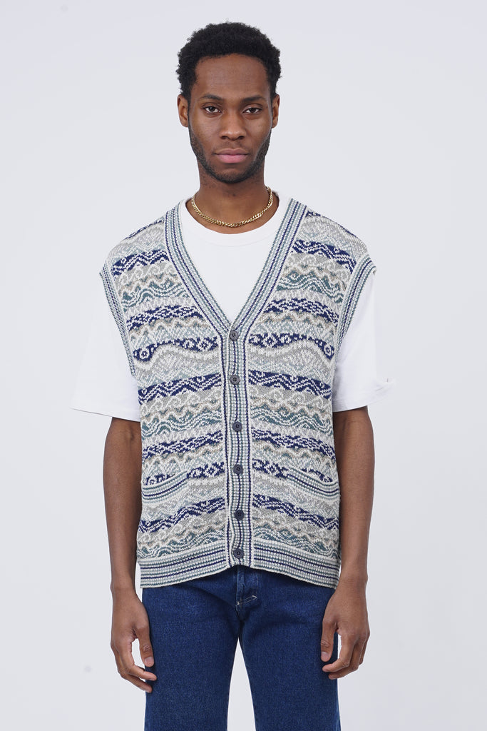 Vintage 90's Missoni Blue Knit Button Up Vest