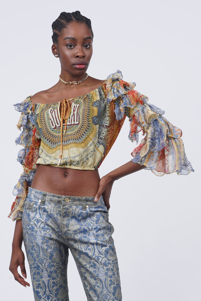 Rare 90's Jean Paul Gaultier Soleil Print Puffy Sleeves Top
