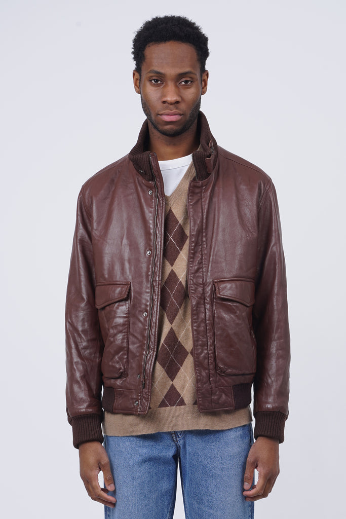 Vintage 90's Butter Soft Chocolate Leather Bomber Jacket