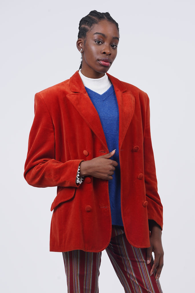 Vintage 90's Benetton Oversized Double Breasted Orange Velvet Blazer