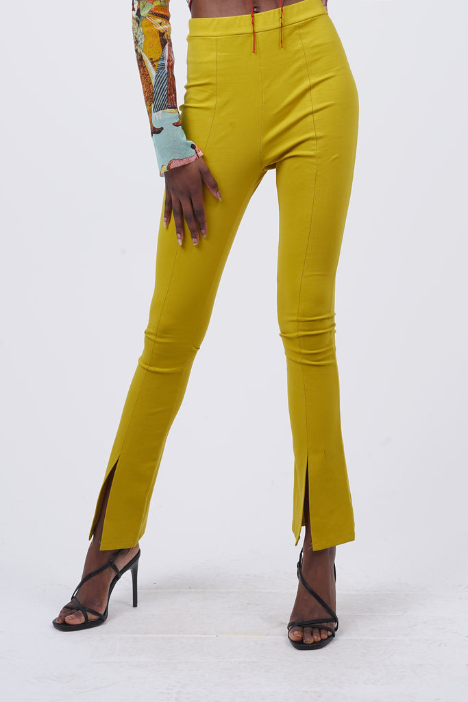 Vintage 90's Yellow Skinny Flared Trousers