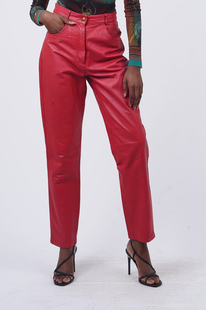 Vintage 90's Red High Waisted Leather Trousers
