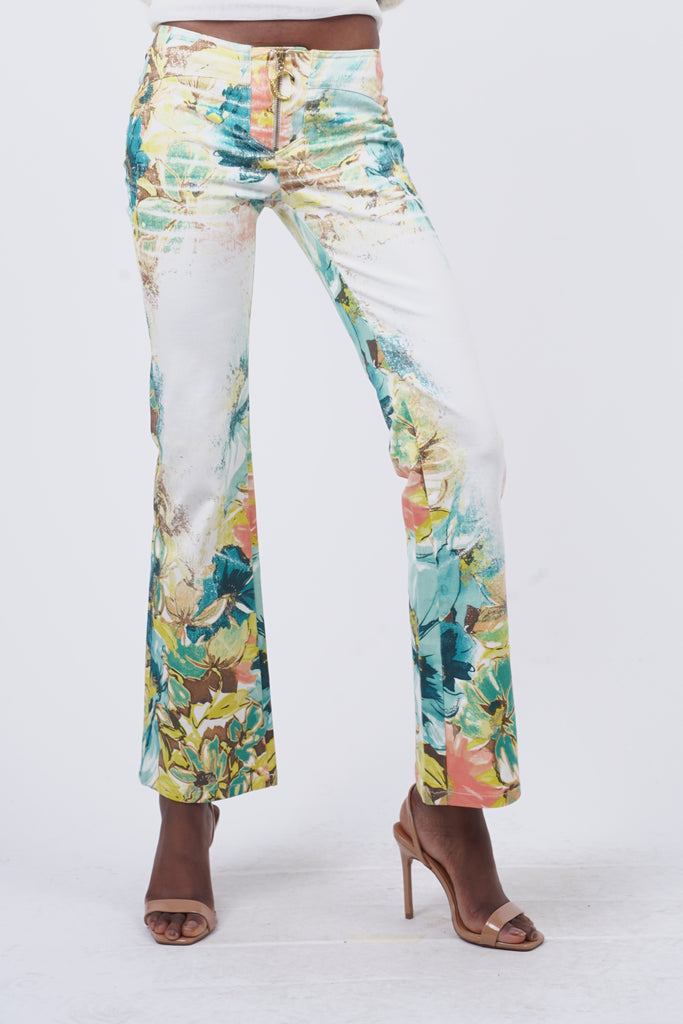 Vintage 90's Roberto Cavalli Tropical Flower Print Low Rise Flared Jeans