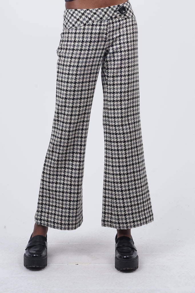 Vintage 90's Houndstooth Print Wool Flare Trousers