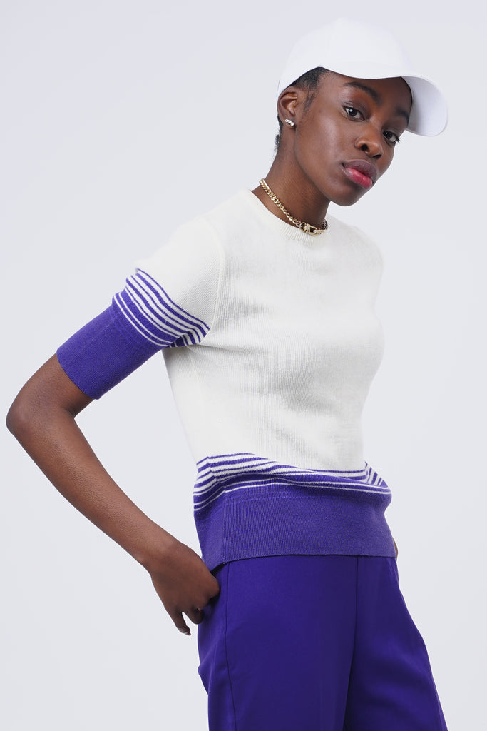 Vintage 70's Knit Cream & Purple Knit Top
