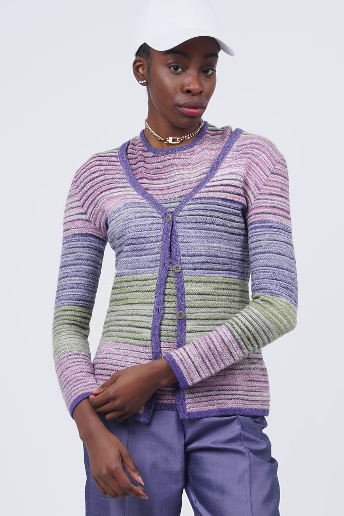 Vintage 90's Missoni Multicolor Striped Wool Knit Co-Ord Set