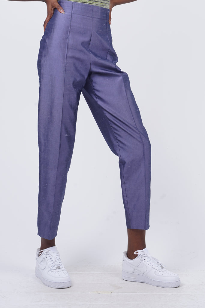 Vintage 90's MaxMara Purple Satin High Waisted Trousers