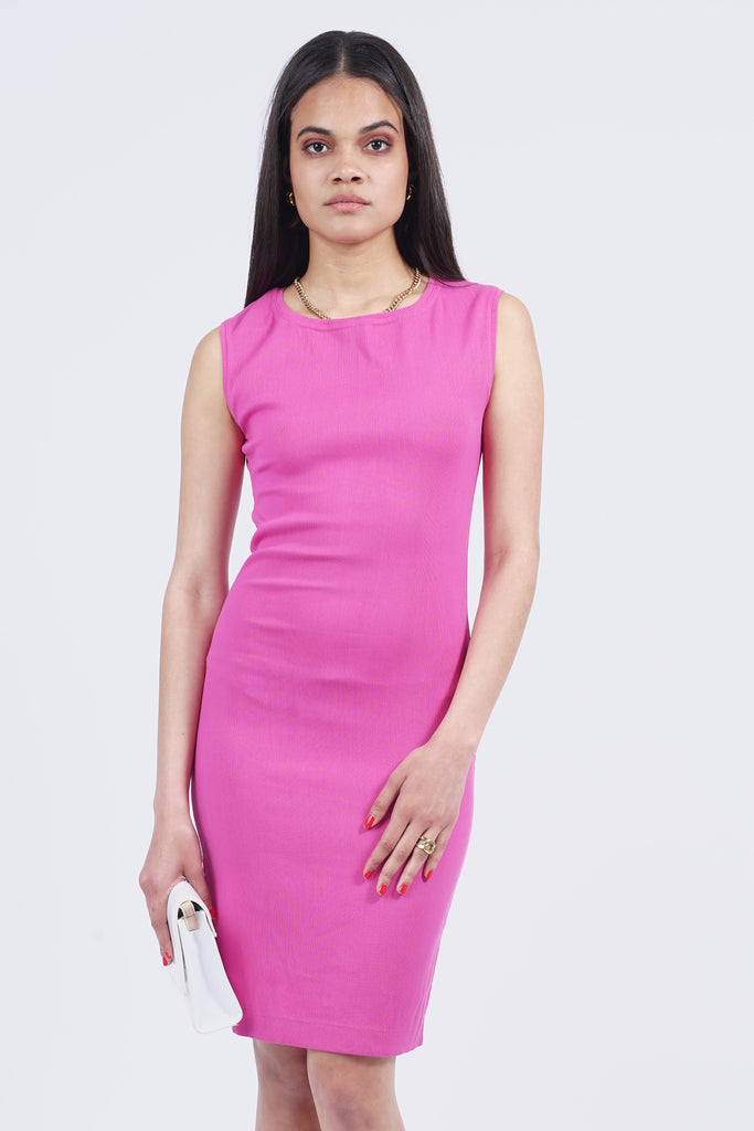 Vintage 90's Missoni Hot Pink Bodycon Sleeveless Dress