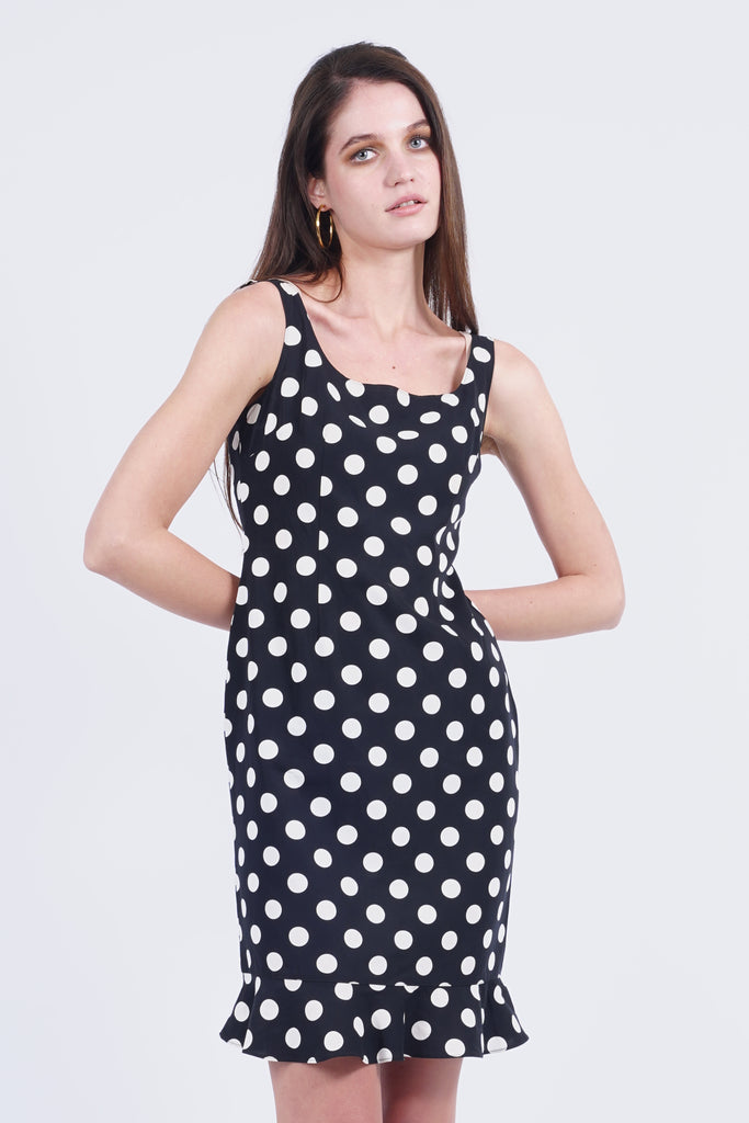 Vintage 90's Moschino Black Polka Dots Dress