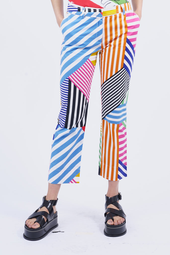 Vintage 90's Castelbajac Colourblock Striped Trousers