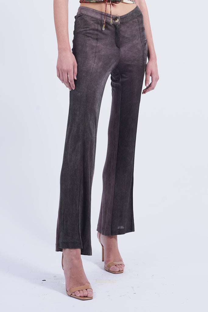 Vintage 90's Roberto Cavalli Brown Satin Touch Flared Trousers