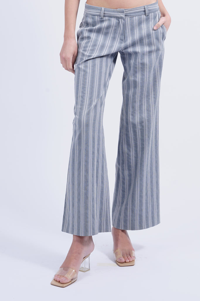 Vintage 90's Light Blue Striped Flared Trousers