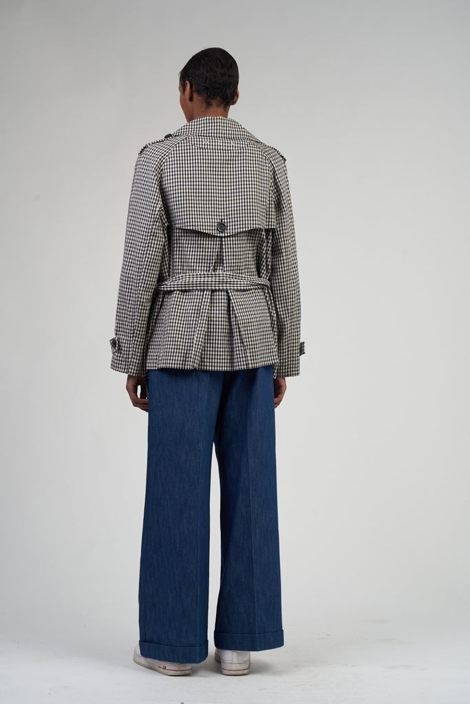 Vintage Houndstooth 90's Luisa Spagnoli Mini Trench