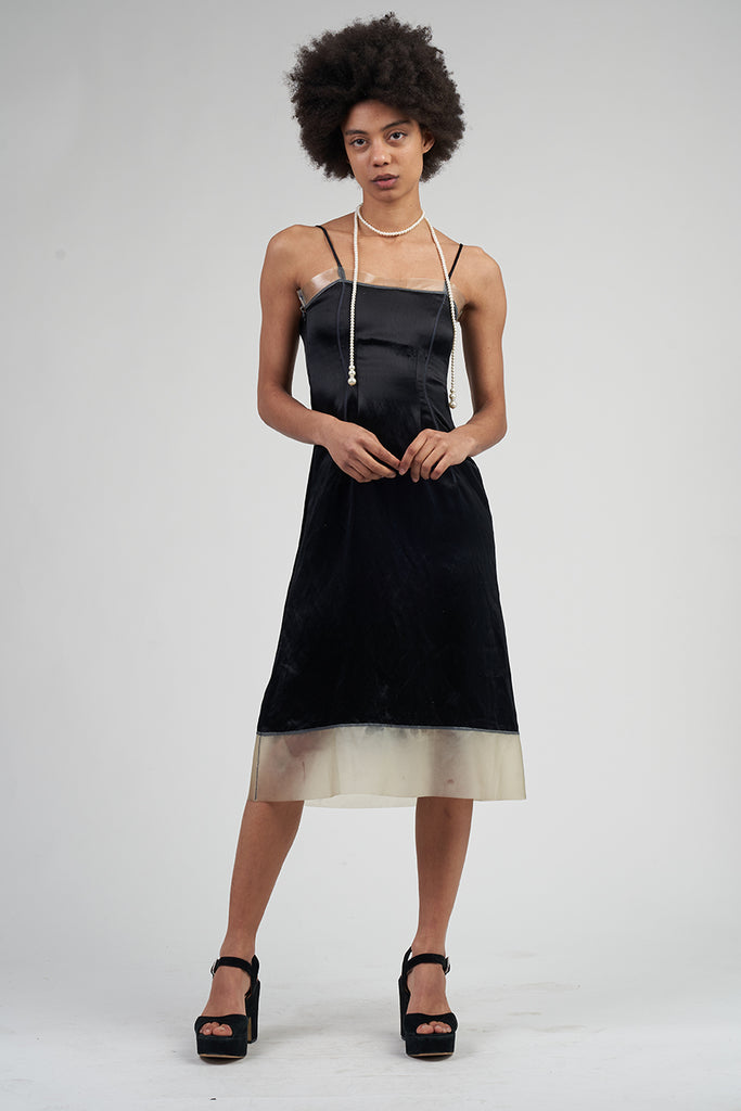 Vintage 90's Satin Black Prada Slip Midi Dress