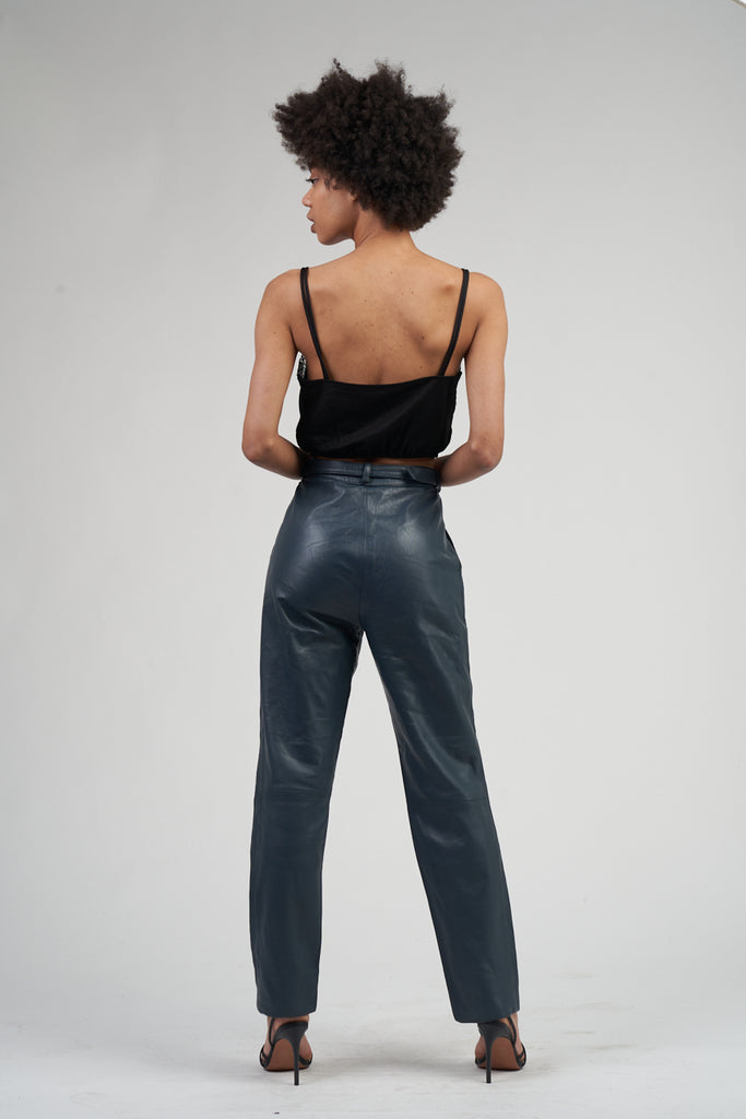 Vintage 80's Midnight Blue High Waisted Leather Trousers