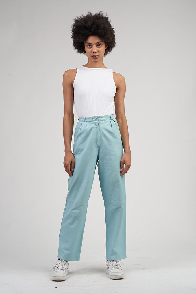 Vintage 90's Turquoise High Waisted Leather Trousers