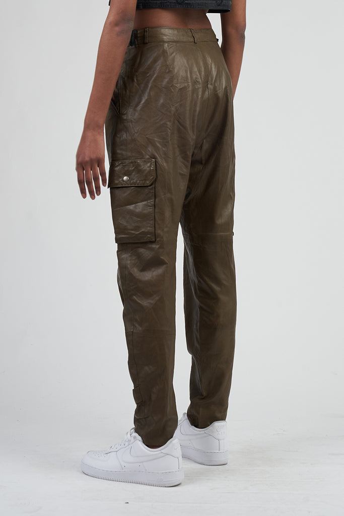 Vintage 90's Khaki Franca Ferretti Leather Cargo Trousers