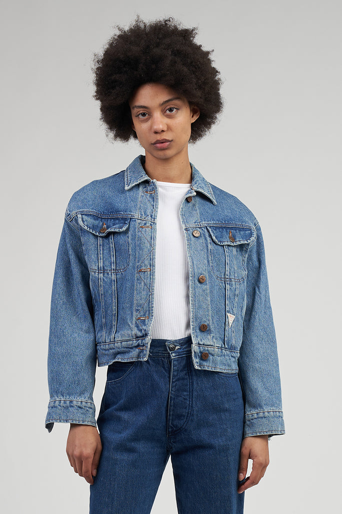 Vintage Mid Wash 90's Cropped Valentino Logo Denim Jacket