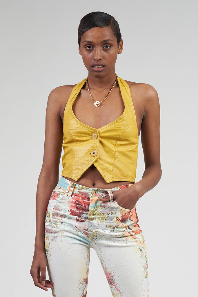 Vintage 90's cropped Halterneck Yellow Leather Waistcoat