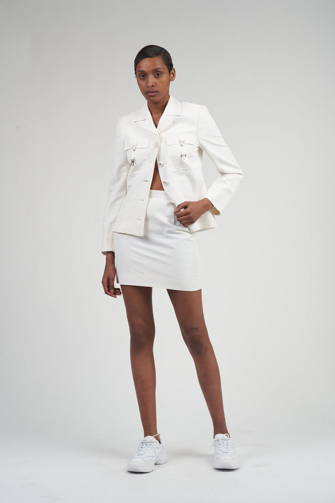 Vintage Early 90's Versace White Skirt Suit