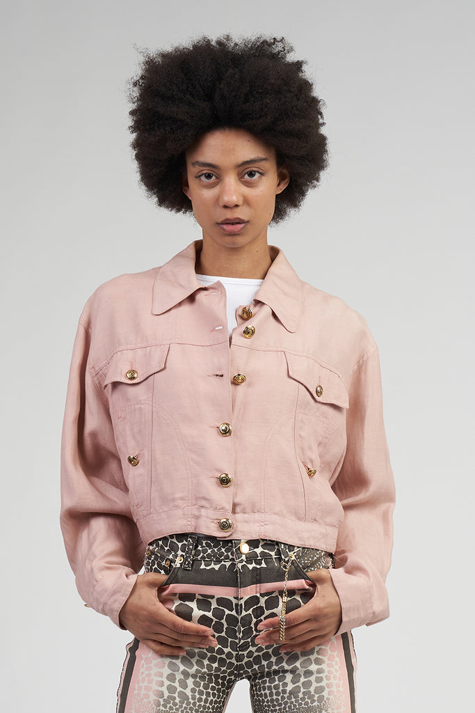 Vintage Early 90's Dusky Pink Linen Moschino Jacket