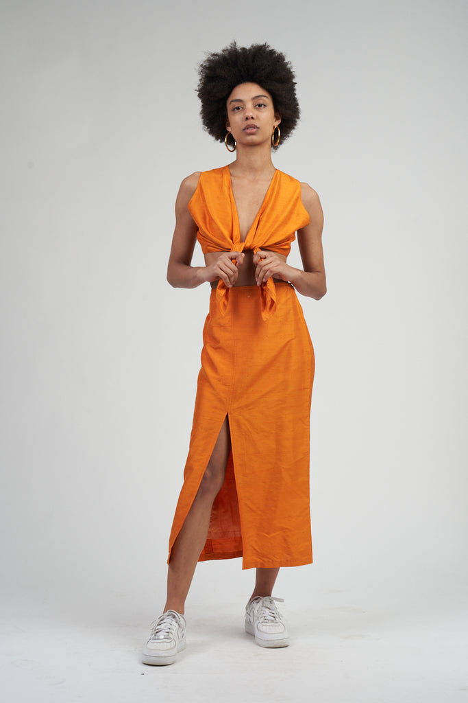Vintage 80's Raw Silk Orange Missoni Top/Skirt Co-Ord