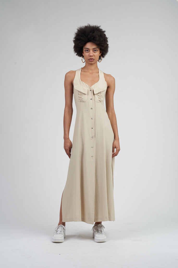 Vintage 90's Maxmara Beige Button Up Maxi Dress