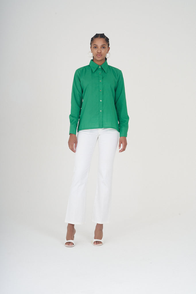 Vintage 70s Emerald Green Pointed Collared Shirt
