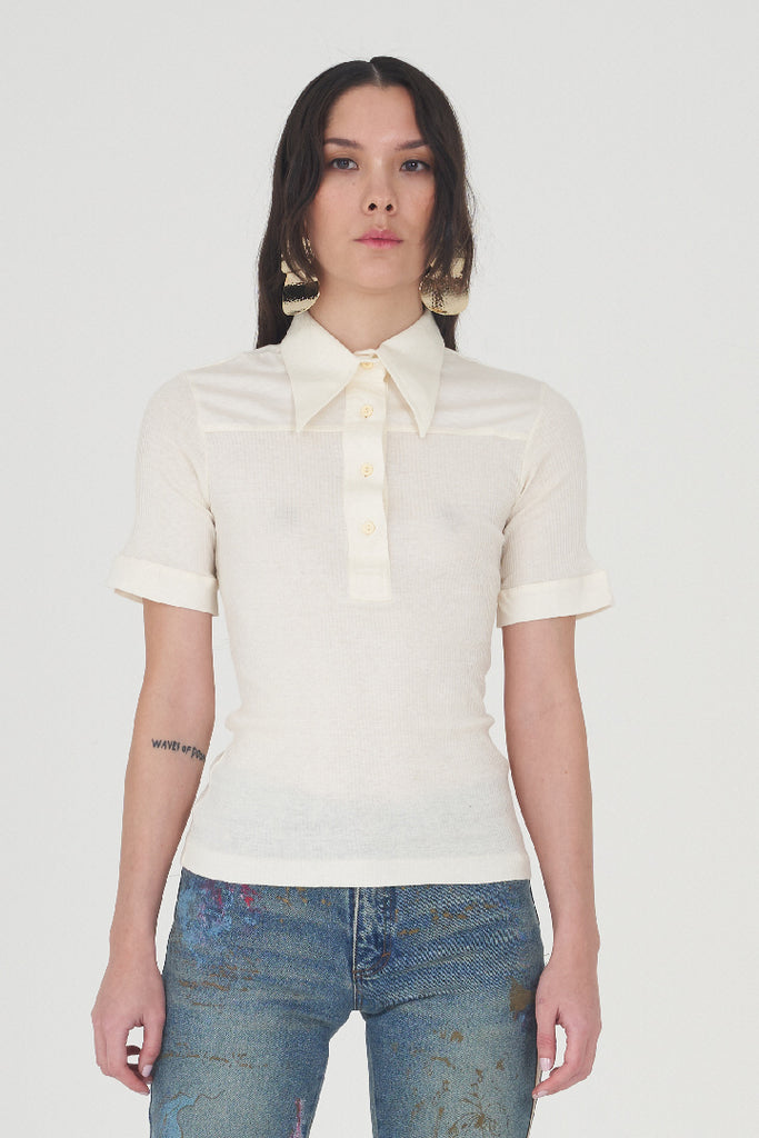 Vintage 70s Cream Ribbed Pointed Collared Polo Shirt