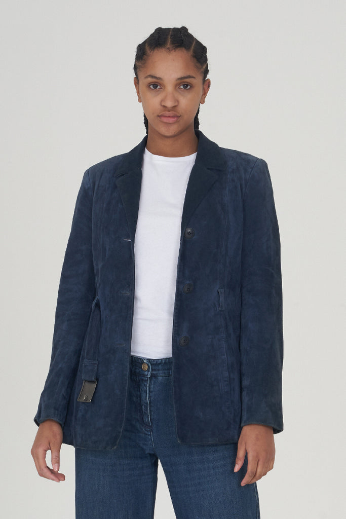 Vintage Early 90's Versace Blue Suede Blazer