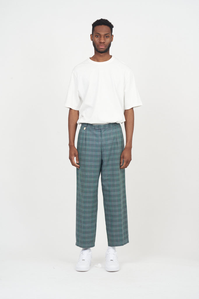 Vintage Checked 80's Wide Leg Adidas Trousers
