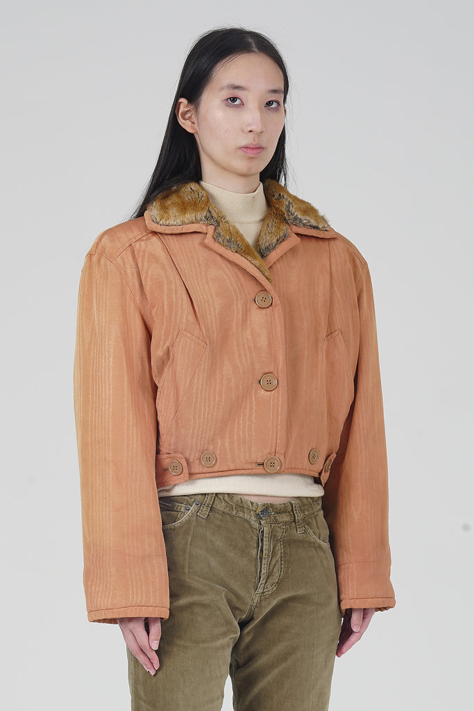 Vintage 90's Ferre Peach Faux Fur Collar jacket