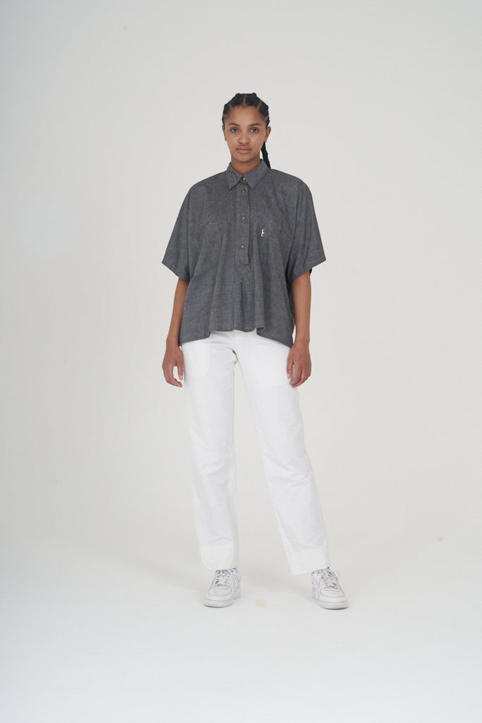 Vintage 80s Moschino Oversized Grey Linen Shirt