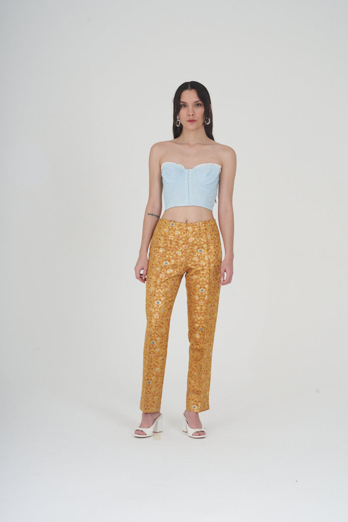 Vintage 90s Gold Detail Satin Oriental Print Trousers