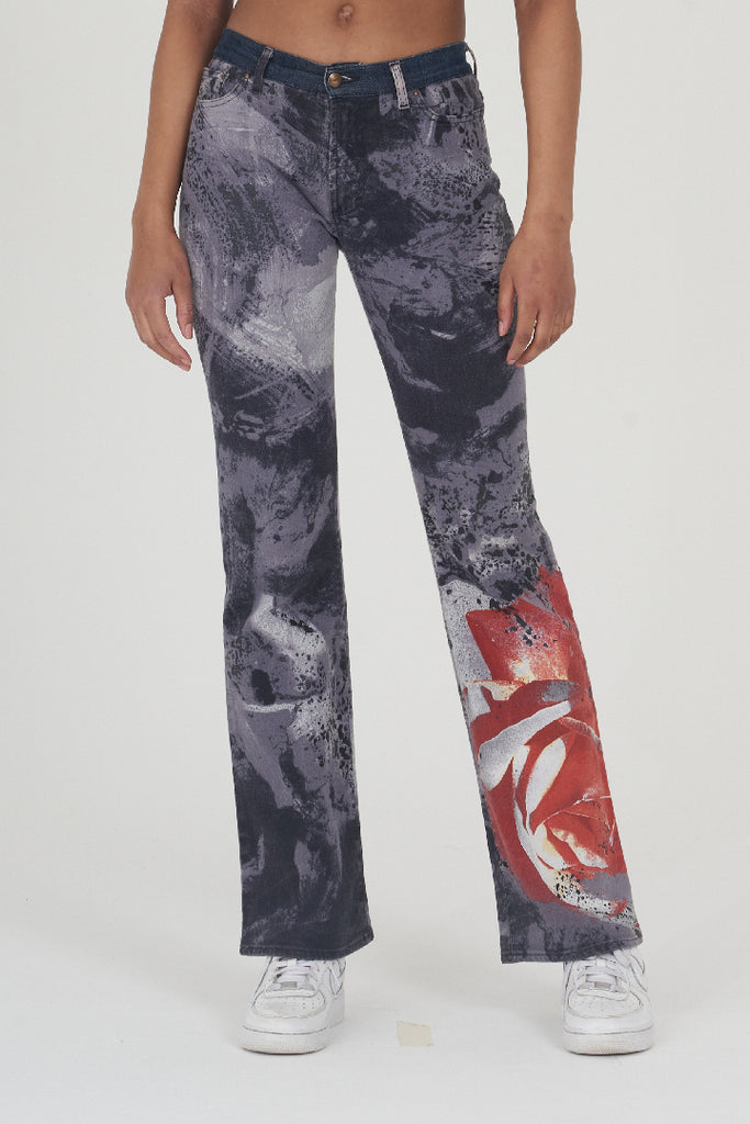 Vintage 90s Roberto Cavalli Grey Red Flower Print Flare Jeans